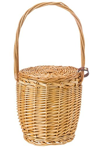 Women's Straw Bucket Basket Bag Summer Drawstring Tote Lady Handbag Small Knitted Beach Bag