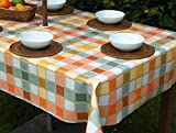 55x78' RECTANGLE PVC/VINYL TABLECLOTH - CANDY CHECK WITH PARASOL HOLE