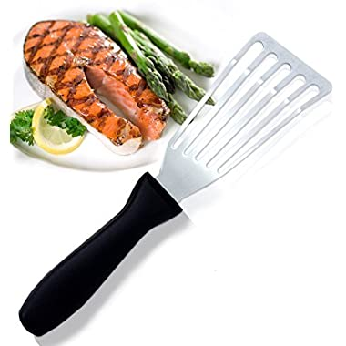 Dynamic Chef Stainless Steel Fish Spatula - Slotted & Beveled Fish Turner with 6 1/2 Inch Blade - Comfortable Plastic Handle