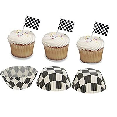 CakeSupplyShop Z9089 Checked Pick Flag Cupcake Picks with Black and White Checkered Baking Cups - 12pack: Toys & Games [5Bkhe0301095]