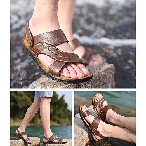 Pantofole Pelle Da Aperta Nero Casual Infradito Sandali Taglie Forti Brown Sandali In Uomo Spiaggia Estiva Da Punta YRqOS8x