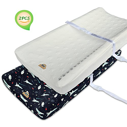 BlueSnail Plush Super Soft and Comfy Changing Pad Cover Change Table Cradle Bassinet Sheets with Straps for Baby 2-Pack (Black ()