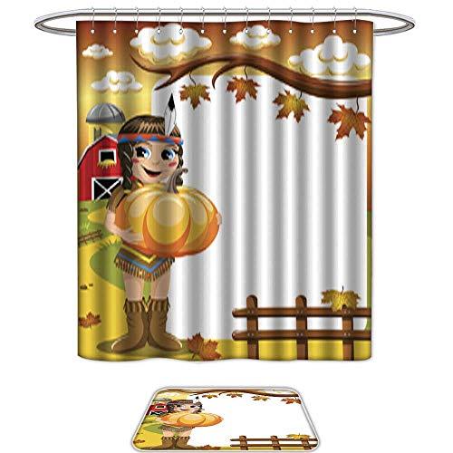 QianHe Set of 2 Shower Curtain and Mat SetLittle Girl Native American Indian Costume Pumpkin Blank Frame Vertical. 12pcs Metal Hook,Bath Mats -
