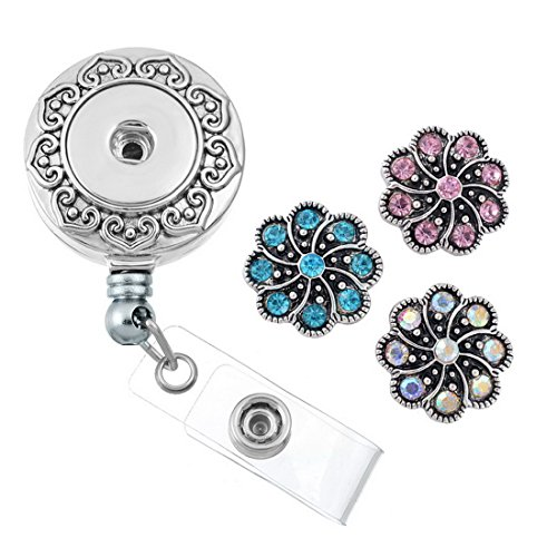 Souarts Retractable Badge Reel Clip On Card Holder with DIY Rhinestione Flower Snaps Buttons (Reel Charm)