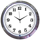 Neonetics Bar and Game Room Neon Alphanumeric Wall Clock with White Neon and Chrome Rim, 15-Inch
