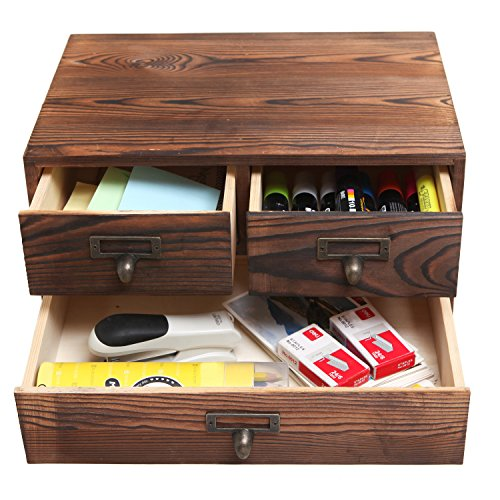 MyGift Small Rustic Dark Brown Wood Office Storage Cabinet/Jewelry Organizer w/ 3 Drawers by MyGift (Image #2)
