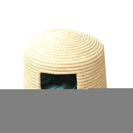 insun mascota casa interior hecho a mano tejido diseño de caseta de perro cama cojín redondo