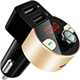 FirstE Bluetooth FM Transmitter, Car Radio Audio Adapter MP3 Player Handsfree Car Kit with Dual USB Ports 5V/3.1A, LED Display Car Voltage, Play TF Card/USB Flash Drive for iPhone,iPad,Samsung