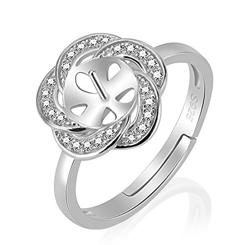 LGSY 1PCS Adjustable 925 Sterling Silver Rings Accessory With Pearl Seat For DIY Pearls Rings