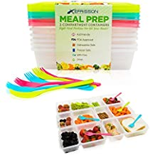 Meal Prep Containers 6-Pack 2-Compartment Bento Lunch Box Food Storage Containers with Lids – 6 Bonus Forks - Reusable BPA Free, Portion Controlled Divided - Microwave, Freezer, Dishwasher Safe