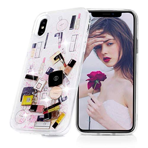 G.J.FACASE iPhone Xs Max Floating Glitter Case, Cosmetic Makeup Lipstick Perfume Patterned,Soft TPU Bumper Frame PC Shell, Liquid Quicksand Bling iPhone Xs Max Case for Women Girls