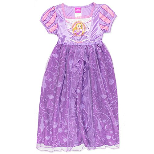 [Disney Princess Rapunzel Girls Fantasy Gown Nightgown (6, Lilac)] (Disney Princess Gowns For Kids)