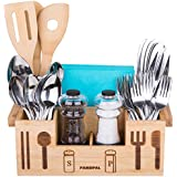 Bamboo Wooden Utensil Caddy Flatware - Holder for Spoons, Knives, Forks, Chopsticks, Salt Pepper Shakers, Napkins, Condiments, Spices, 7 Compartment, Silverware Organizer Home, Restaurant, Camper