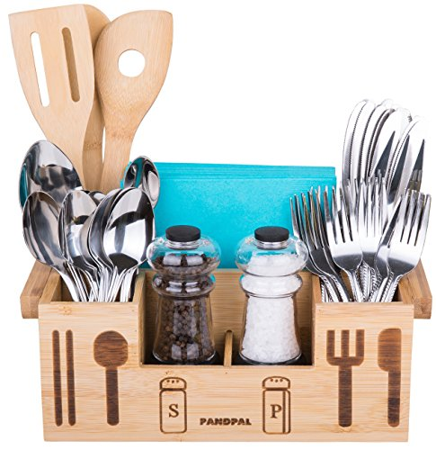 Countertop Silverware Organizer - Bamboo Wooden Utensil Caddy Flatware - Holder for Spoons, Knives, Forks, Chopsticks, Salt Pepper Shakers, Napkins, Condiments, Spices, Silverware Drawer Organizer Home, Restaurant, Camper