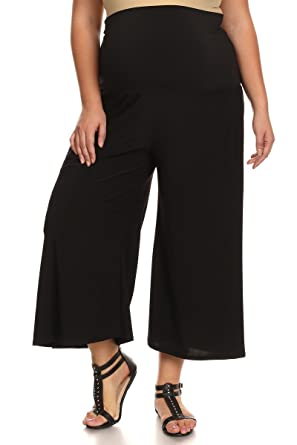 b9a103dd09009 PB COUTURE Womens Plus Size Gaucho Maternity Capri Pants Culotte Black 1X