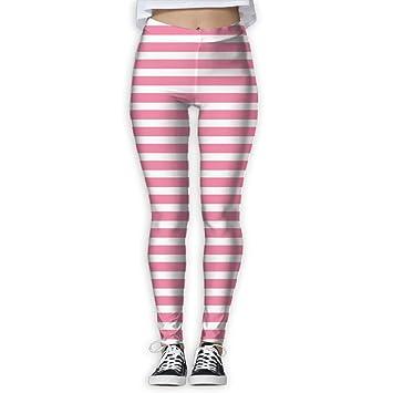 Amazon Com Horizontal Stripes Light Pink Workout Legging Yoga