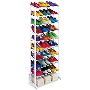 30 pairs 10 tier folding stackable shoe rack stand organiser storage rh amazon co uk cheap metal shoe shelves cheap diy shoe shelves