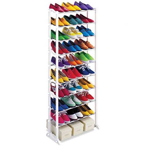 30 Pairs 10 Tier Folding Stackable Shoe Rack Stand Organiser Storage Holder