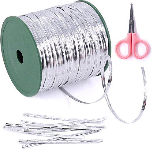 Glarks 350 Yard Silver Metallic Twist Ties for Bread Candy Bag Parties Decorative Ties (silver) (Clear Twist Ties)