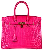Cherish Kiss Padlock Bag Women Crocodile Leather Top Handle Handbags (30cm, Hot Pink)