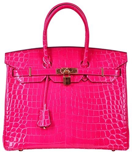 Cherish Kiss Padlock Bag Women Crocodile Leather Top Handle Handbags  35Cm  Hot Pink