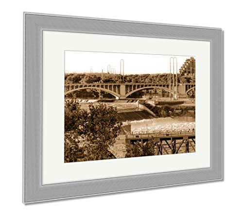 Ashley Framed Prints Minneapolis Mn River And Bridge Near Downtown, Wall Art Home Decoration, Sepia, 34x40 (frame size), Silver Frame, - Mn Minneapolis Downtown