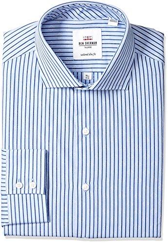 Ben Sherman Men's Slim Fit Flo SP Blu Heath Clip Spot, Blue, 17.5