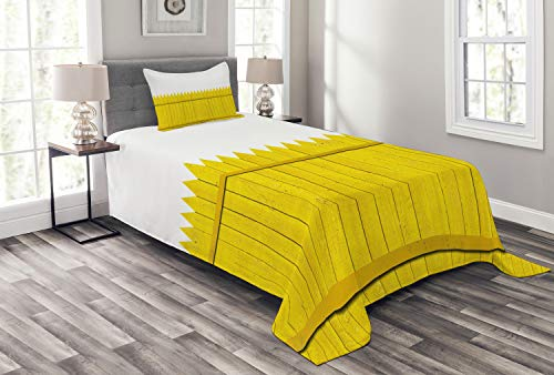 (Ambesonne Yellow Bedspread, Colorful Wooden Picket Fence Design Suburban Community Rural Parts of Country, Decorative Quilted 2 Piece Coverlet Set with Pillow Sham, Twin Size, Yellow Mustard )