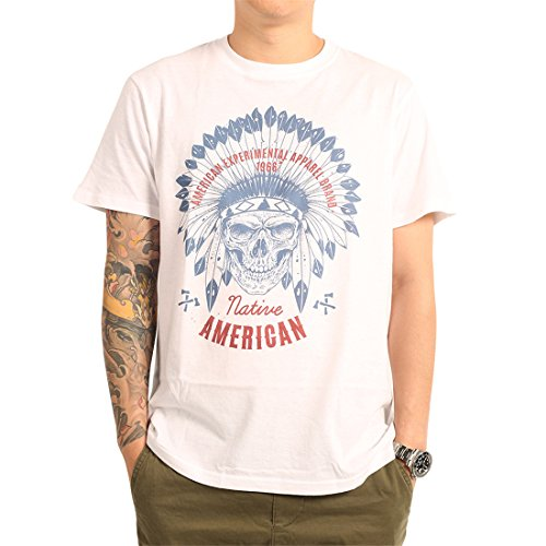 (Pierweis Native American Flag Tribal Skull Indian Feathers Men's White Vintage Cool Print T Shirts (M) )
