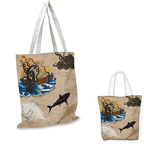 Mystic fashion shopping tote bag Marine Monsters Collection Creatures Collage Kraken Octopus Sea Dog Mythical Animals canvas bag shopping Multicolor. 13
