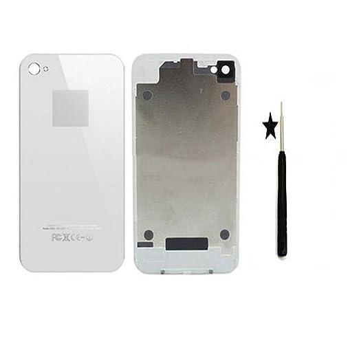 SKILIWAH -Tapa Trasera de la Batería para iPhone 4, Color Blanco + ...