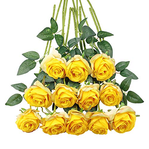 Tifuly 12 PCS Rose Artificial Flower, Single Stem Fake Flowers Bridal Wedding Bouquet, Realistic Blossom Flora for Home Garden Party Hotel Office Decorations(Gradient Yellow) (Decoration For Flowers Office)