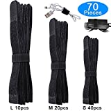 AUSTOR 70 pcs Fastening Cable Ties Reusable Cable Straps Black Hook & Loop Cable Ties in 11