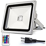 Zitrades Spotlight Flood Light Led outdoor lighting 30w High Power 90V - 240V AC IP65 Waterproof Security Floodlight RGB Color US 3-Plug With Remote Control For Garden,House,Piazza,Bill Boards,Factory,Gyms,Docks