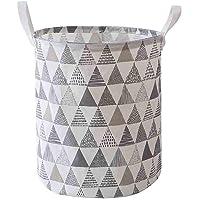 MINGLIFE 17.7-Inches Large Laundry Basket, Laundry Hamper Clothes Basket Cotton Waterproof Washing Bag Foldable Storage (B)