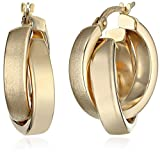 14k Yellow Gold Polished Crossover Hoop Earrings