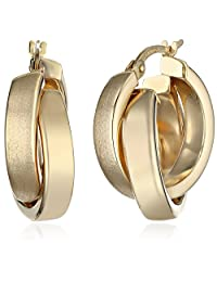 14k Gold Satin and Polished Crossover Hoop Earrings