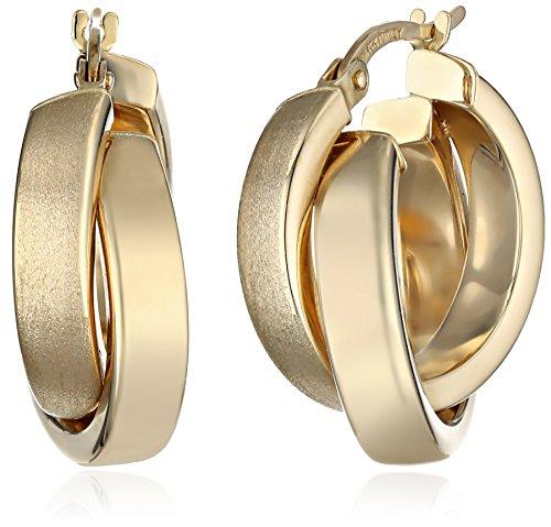 14k Yellow Gold Polished Crossover Hoop Earrings by Amazon Collection