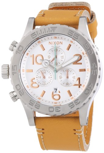 Nixon A424-1603 Ladies 42-20 Chrono Natural Leather Strap Watch