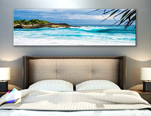 - Original by BoxColors Single panel 3 Size Options Art Canvas Print Palm coconut tree Nature beach tropical ocean seascape sea relax sunset Wall Home Office decor (framed 1.5