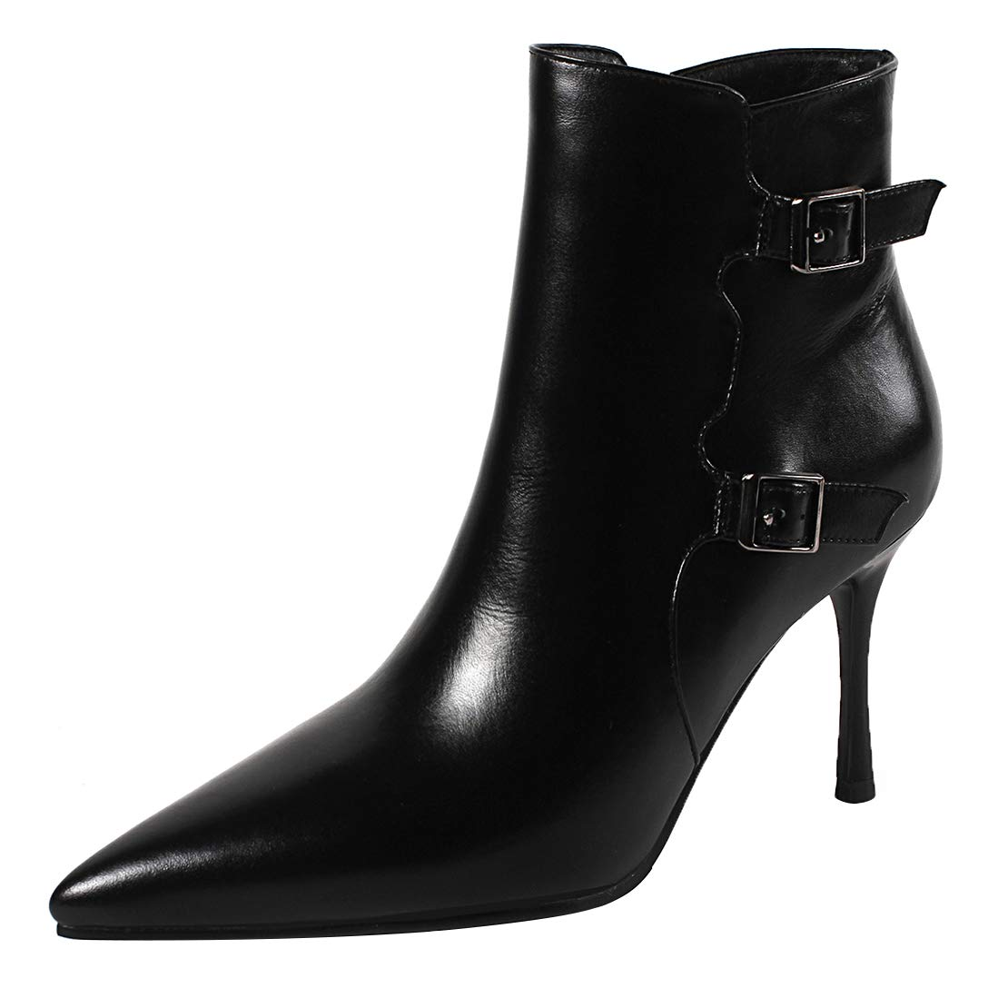 Black Eithy Women's Shabso Stiletto Ankle-high Zipper Leather Boots