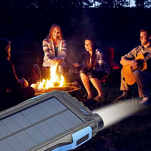 Solar Charger Kiizon 25000mAh Outdoor Portable Chargers Solar Power Bank Waterproof/Shockproof Dual USB Port External Backup Battery Powered Pack with Flashlight For iPhone,ipad,Smart Cell Phone,More by kiizon (Image #4)