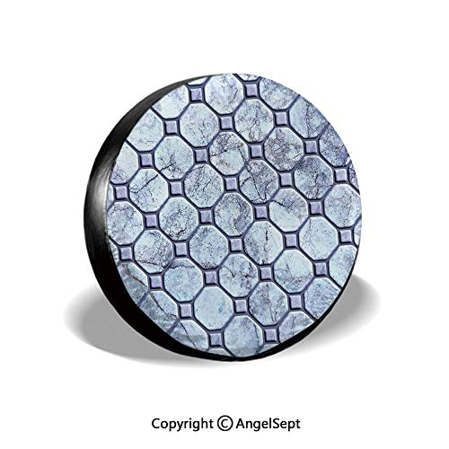 (Tire Cover,Retro Marble Tiled Spiral and Round Circular Bound Tied Old Fashion Shapes Design,Grey,for Jeep,Trailer, RV, SUV and Many Vehicle 15