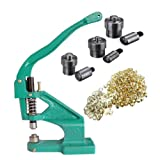 iMeshbean Heavy Duty Hand Press Grommet Machine with 3 Die (#0#2#4) & 1500Pcs Golden Grommets Eyelet Craft Tool Kit Hole Punches Machine USA