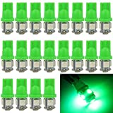 Image of EverBright 20-Pack Green T10 194 168 2825 W5W 5050 5-SMD LED Bulb For Car Replacement Interior Lights Clearance Wedge Dome Trunk Dashboard Bulb License Plate Light Lamp DC 12V