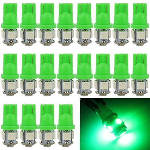 Everbright 20 Pack Green T10 194 168 2825 W5w 5050 5 Smd Led Bulb For Car Replacement Interior Lights Clearance Wedge Dome Trunk Dashboard Bulb License Plate Light Lamp Dc 12V