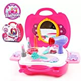 Bonniesun Pretend Play Cosmetic and Makeup Toy Set Kit Little Girls Princess Fashion 21 Pieces Beauty Hair Salon Vanity Case