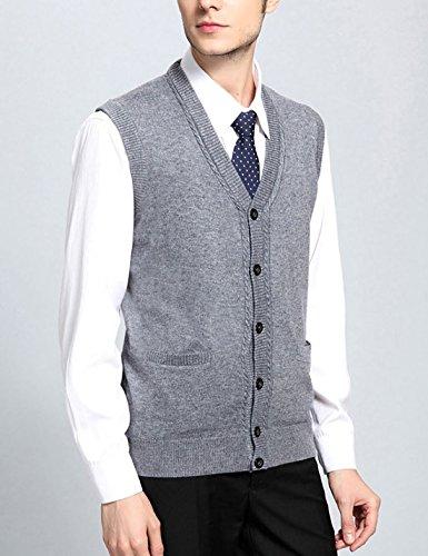 Men's V Neck Wool Cashmere Sleeveless Button Down Sweater Vest ...