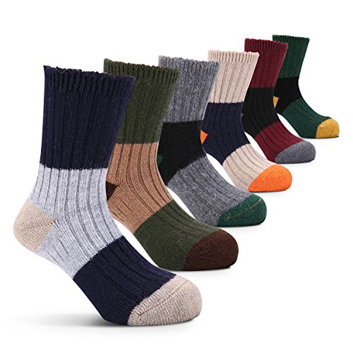 Blocks Acrylic Sock (Boys Wool Socks Kids Color Block Winter Seamless Warm Socks 6 Pack)