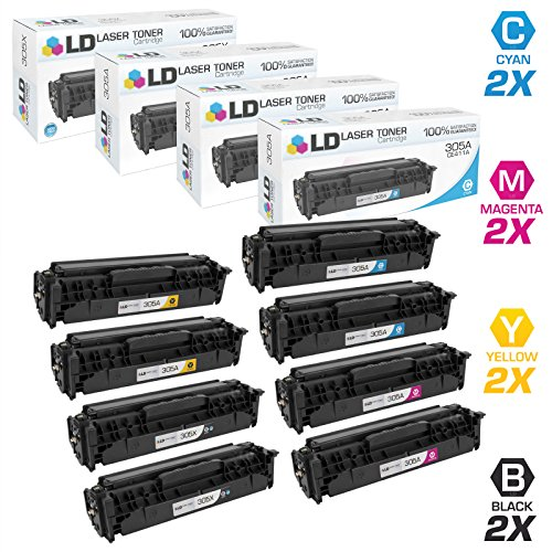 - LD Compatible Toner Cartridge Replacements for HP 305A & 305X High Yield (2 Black, 2 Cyan, 2 Magenta, 2 Yellow, 8-Pack)